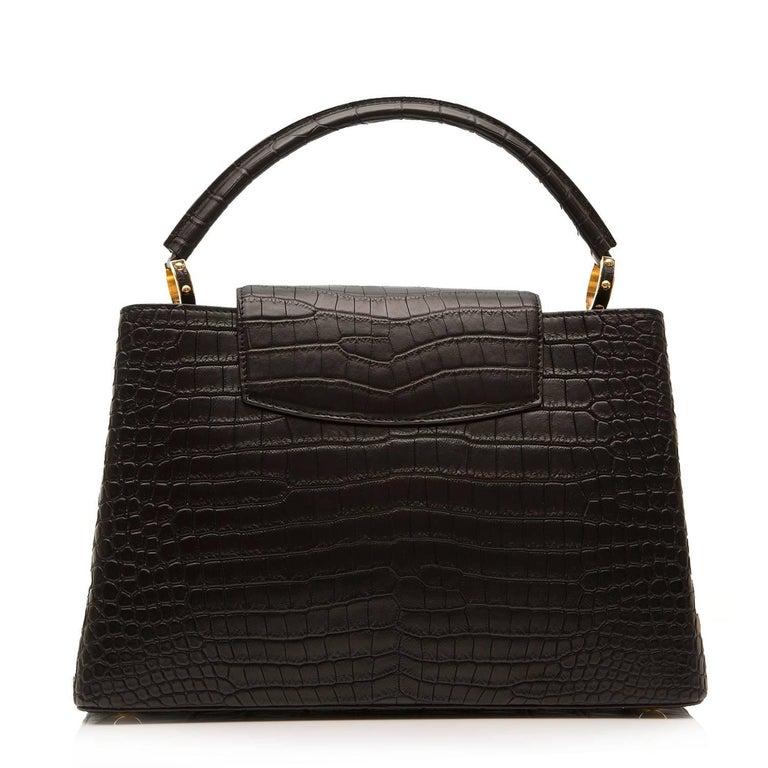 Louis Vuitton Matte Black Crocodile Capucines Tote Bag In Excellent Condition For Sale In London, GB