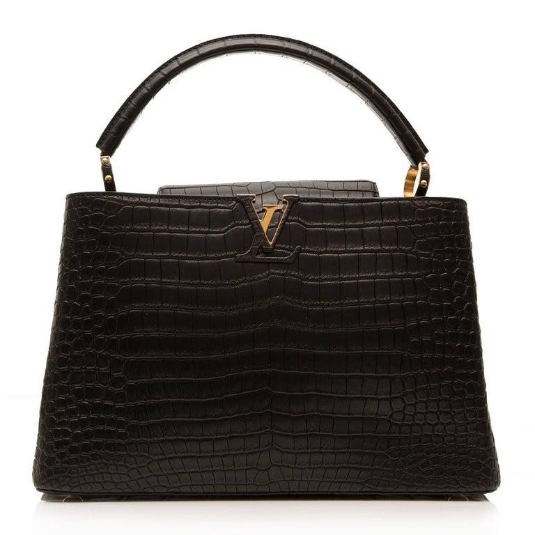 Women's Louis Vuitton Matte Black Crocodile Capucines Tote Bag For Sale
