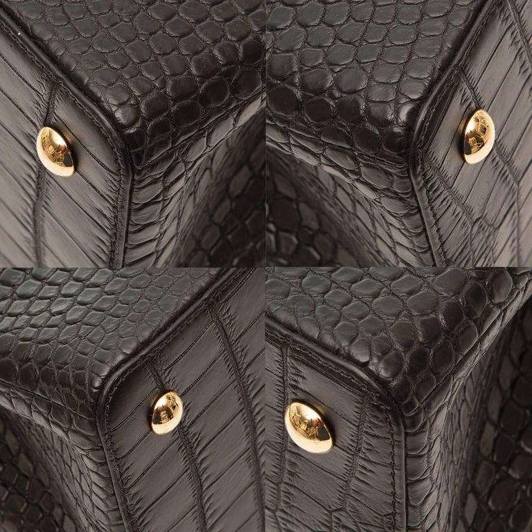 Louis Vuitton Matte Black Crocodile Capucines Tote Bag For Sale 2