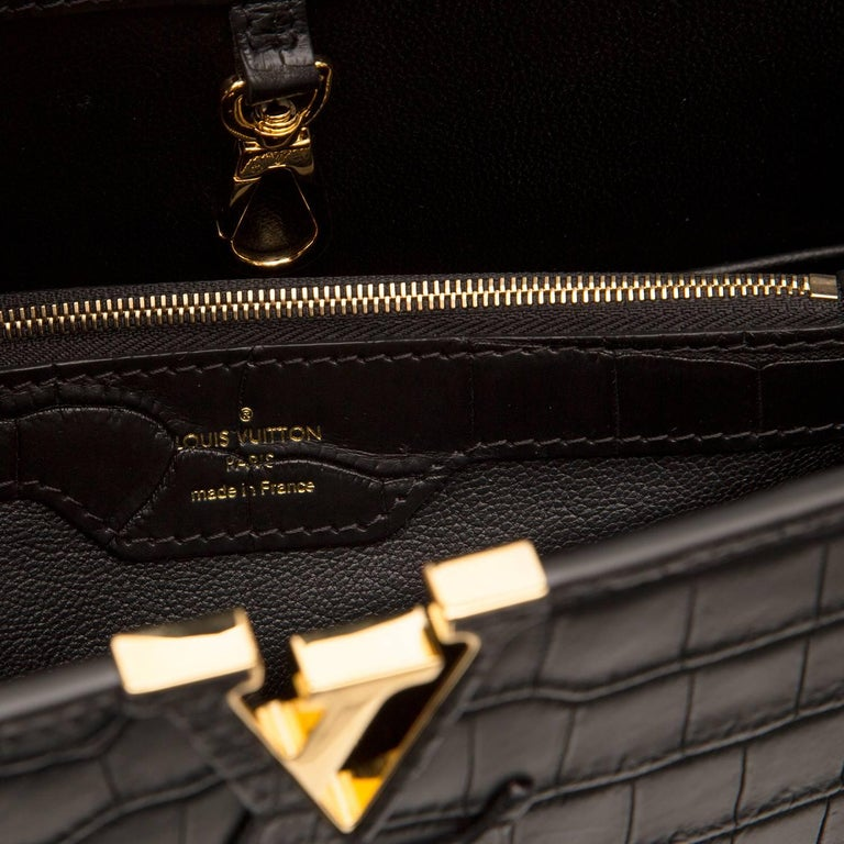 Louis Vuitton Matte Black Crocodile Capucines Tote Bag For Sale 3