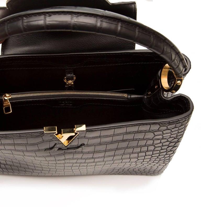Louis Vuitton Matte Black Crocodile Capucines Tote Bag For Sale 4