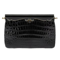Vintage Black Crocodile Leather Clutch