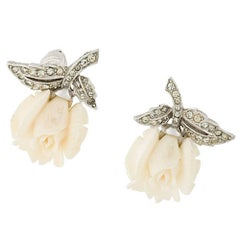 Vintage 1940s Ivory Floral Earrings