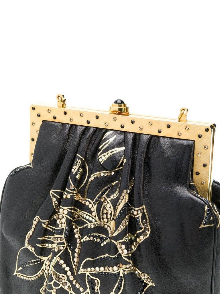 Black Judith Leiber Vintage Leather Evening Bag For Sale