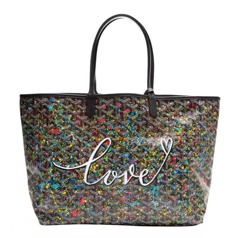 Goyard Customized Black 'Splattered Paint Love' Monogram St Louis PM Bag For Sale