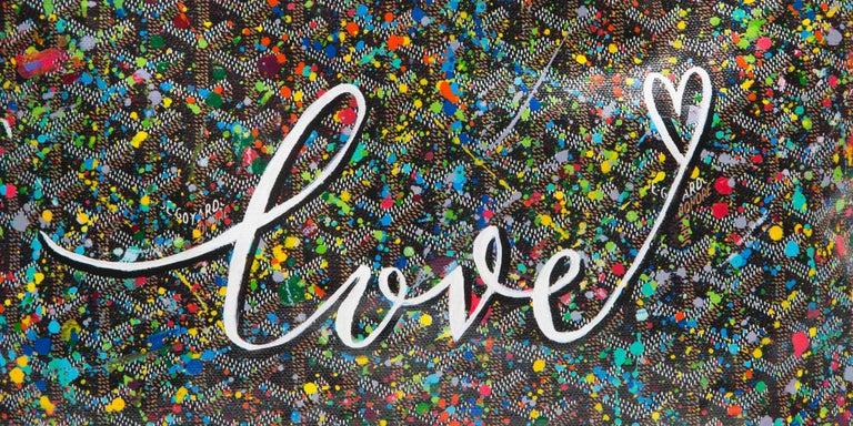 Goyard Customized Black 'Splattered Paint Love' Monogram St Louis PM Bag For Sale 3