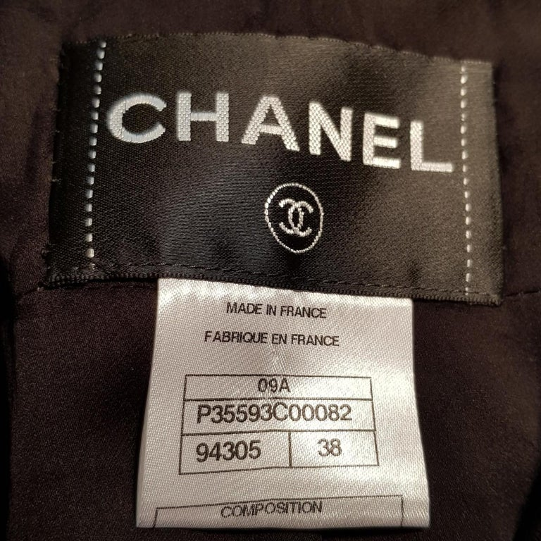 Black Chanel Crochet Trimmed Leather Jacket For Sale