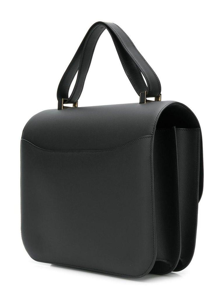 Black Hermès Limited Edition 29cm Cartable Constance Bag For Sale