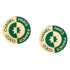 Chanel CC Emblem Logo Bi-colour Earrings