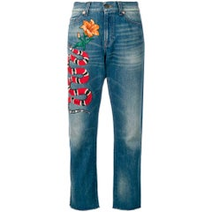 Gucci Snake & Flower Cropped Jeans