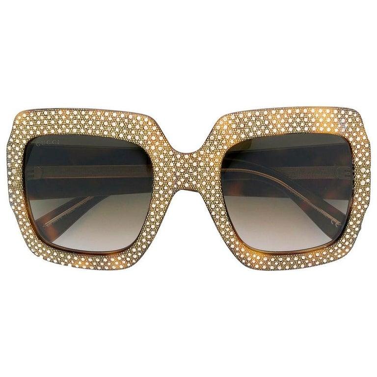 Gucci Oversized Rhinestone Sunglasses