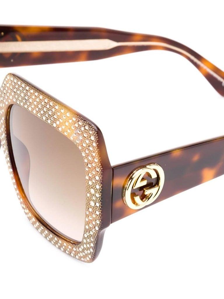 852653d7cde Brown Gucci Oversized Rhinestone Sunglasses For Sale