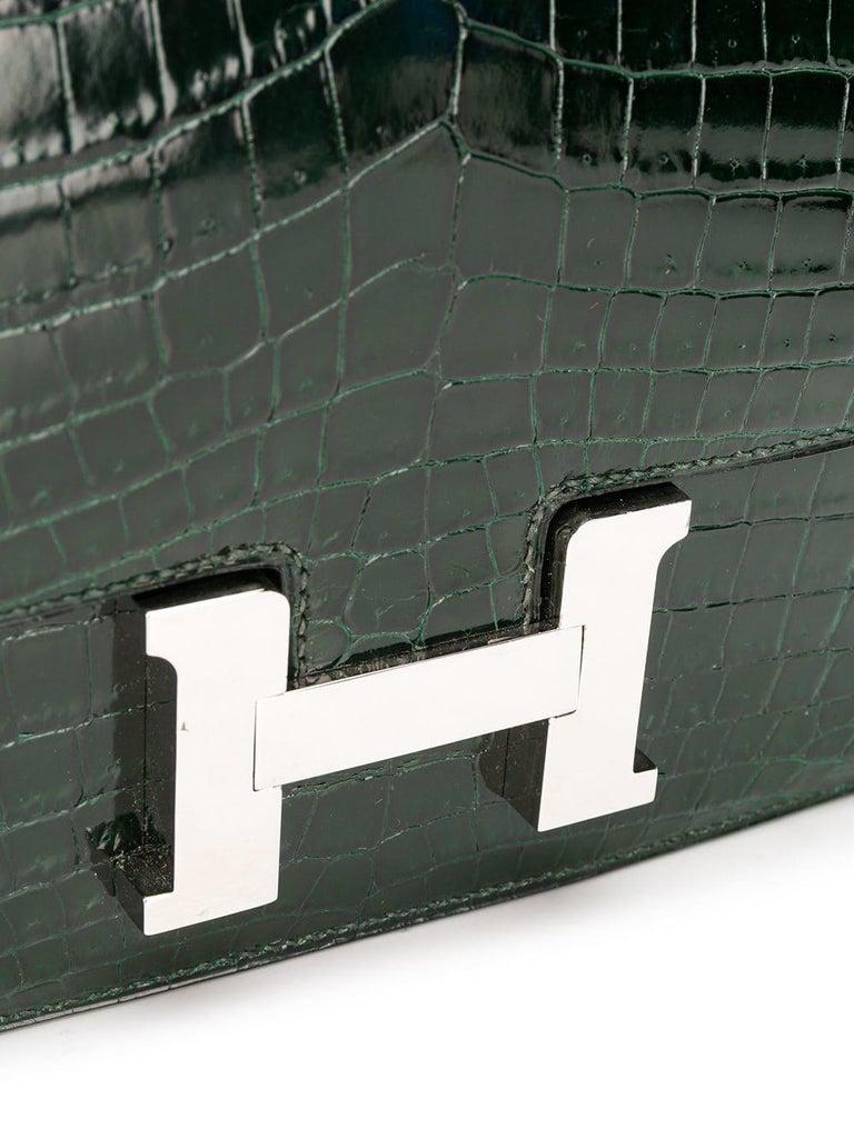 Black Hermès Vert Fonce Crocodile Constance Elan 25cm Bag For Sale