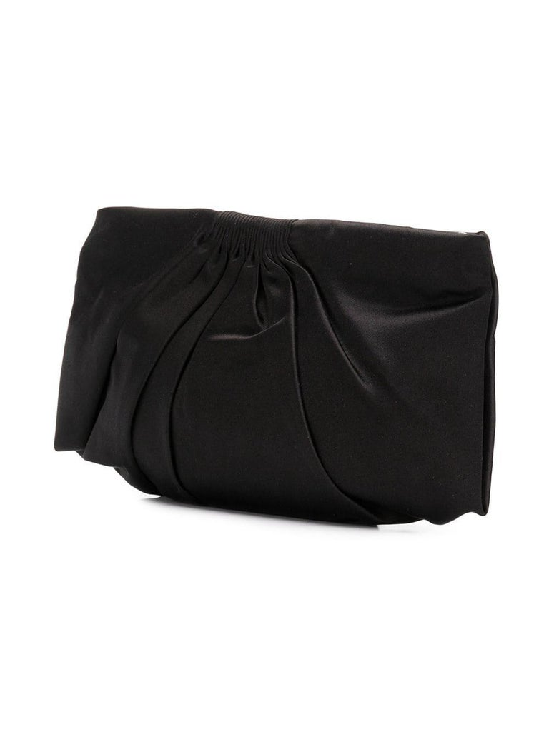 d71f1b7dcad1 Make a classic statement for cocktail hour with this black satin Chanel  clutch featuring a pleated