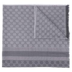 Gucci Dove Grey Monogram Print Scarf