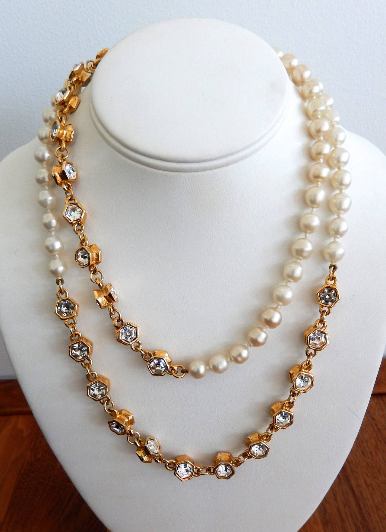 Chanel Pearl And Rhinestone Sautoir Necklace At 1stdibs