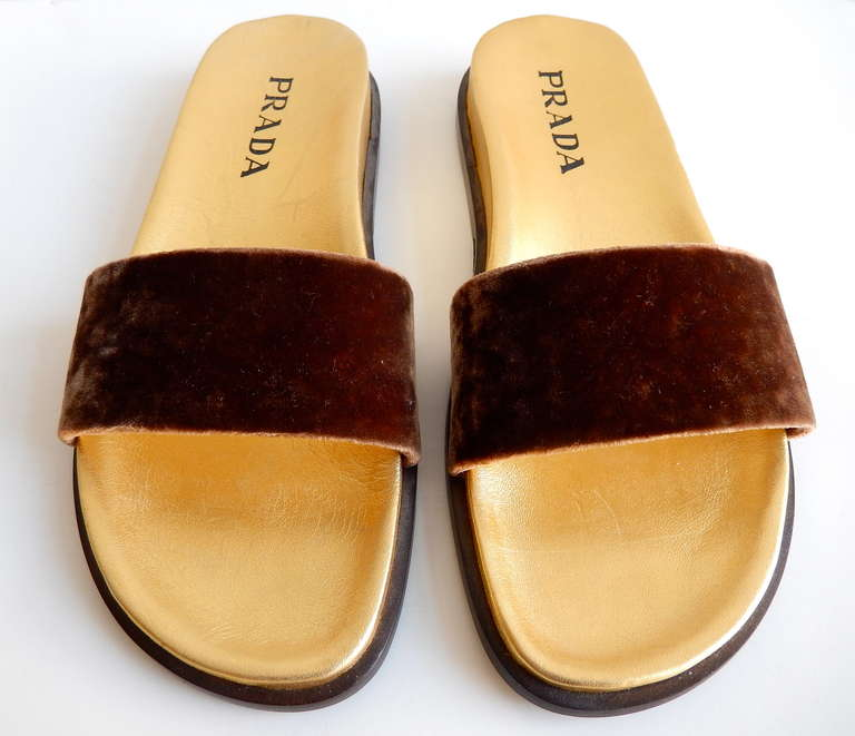 1990s Prada Gilt Leather and Velvet Sandals 3