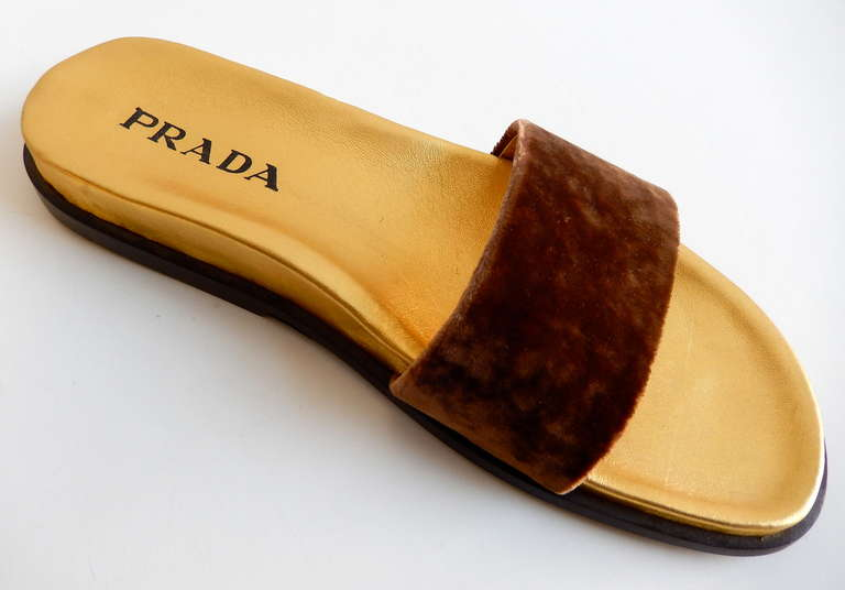 1990s Prada Gilt Leather and Velvet Sandals 2