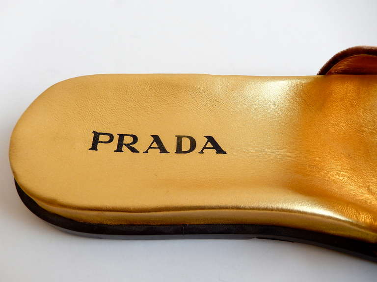 1990s Prada Gilt Leather and Velvet Sandals 4
