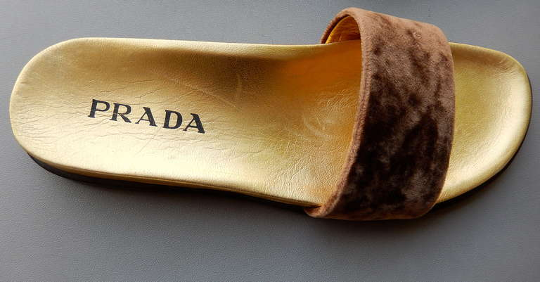1990s Prada Gilt Leather and Velvet Sandals 6