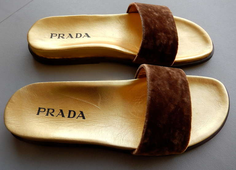 1990s Prada Gilt Leather and Velvet Sandals 5