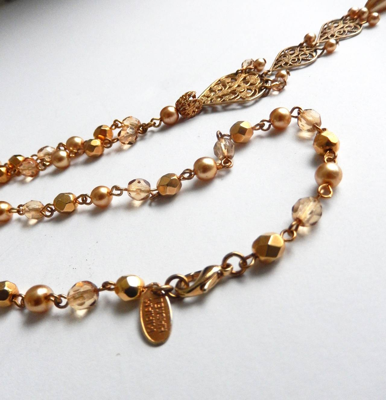 1970s Miriam Haskell Faceted Bead and Pearl Necklace with Pendant For Sale 1