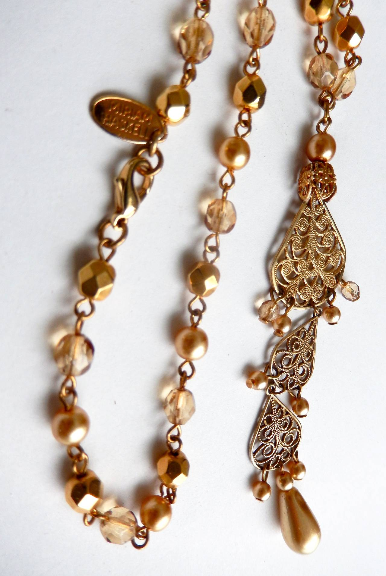 1970s Miriam Haskell Faceted Bead and Pearl Necklace with Pendant For Sale 2