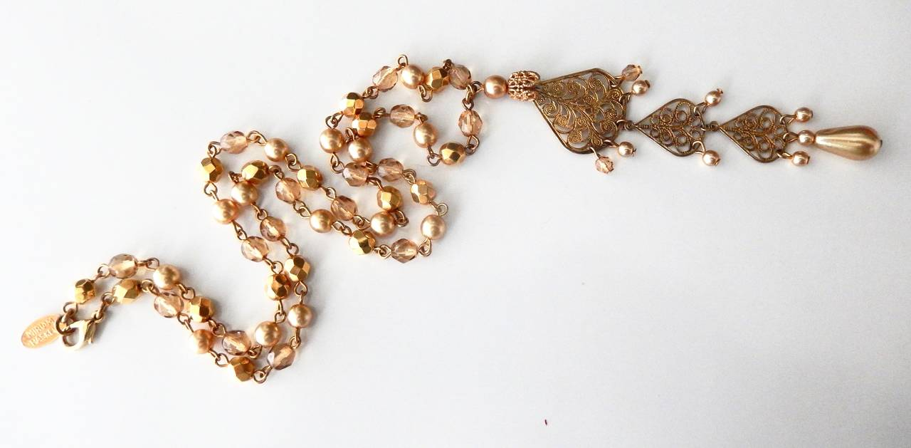 1970s Miriam Haskell Faceted Bead and Pearl Necklace with Pendant In Good Condition For Sale In Winnetka, IL