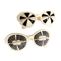 Iconic 1960s Mod/Op Art Sunglasses/Italy