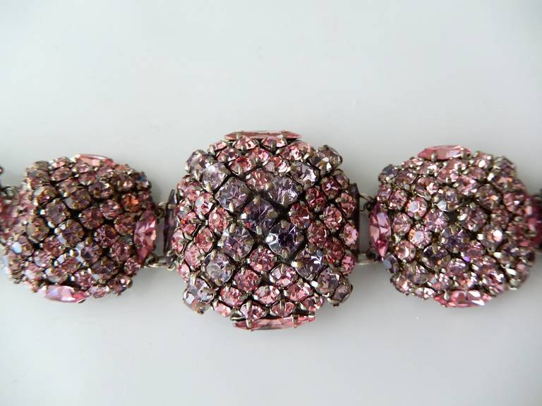 French Pastel Rhinestone Bracelet Attributed to Roger Jean-Pierre 3