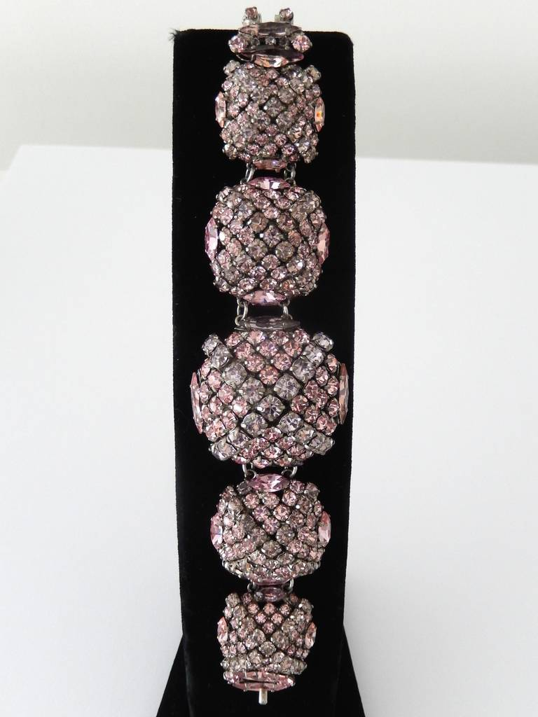 French Pastel Rhinestone Bracelet Attributed to Roger Jean-Pierre 8