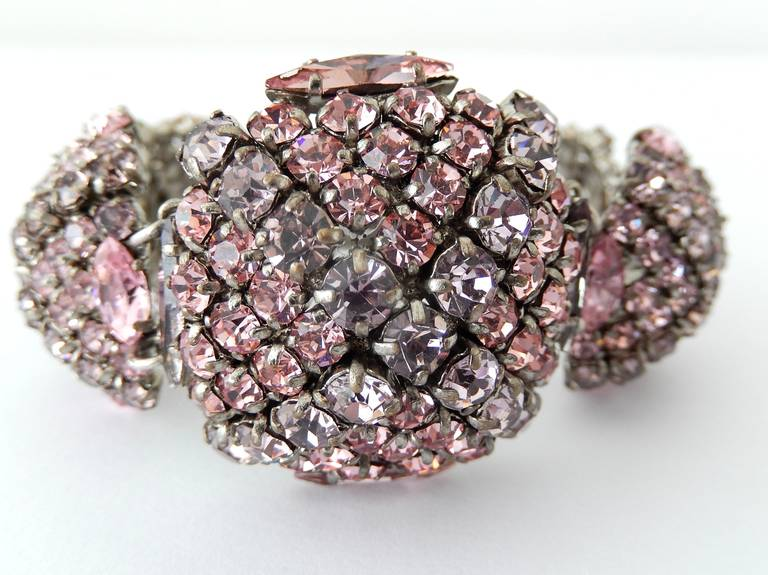 French Pastel Rhinestone Bracelet Attributed to Roger Jean-Pierre 2
