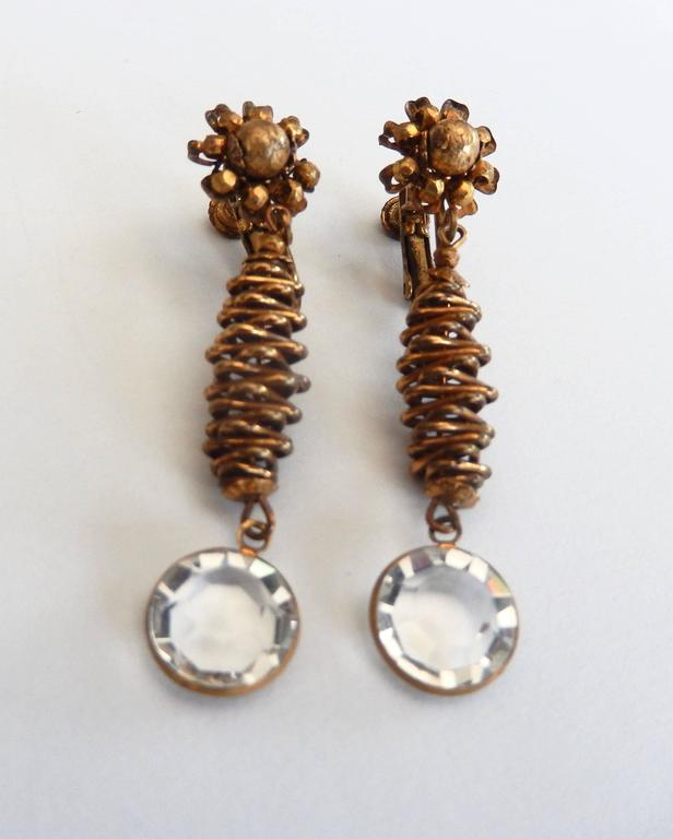 Vintage Miriam Haskell Clip Earrings with Crystal Drop 2