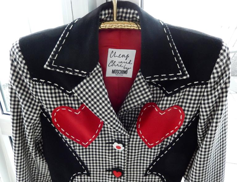 1990s Moschino Checkered Wool Jacket w/Double Red Hearts  3
