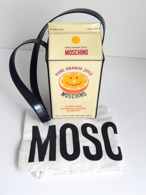 "1990s Moschino  Pop Art ""Orange Juice Carton"" Leather Handbag 2"