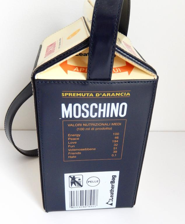 "1990s Moschino  Pop Art ""Orange Juice Carton"" Leather Handbag 3"