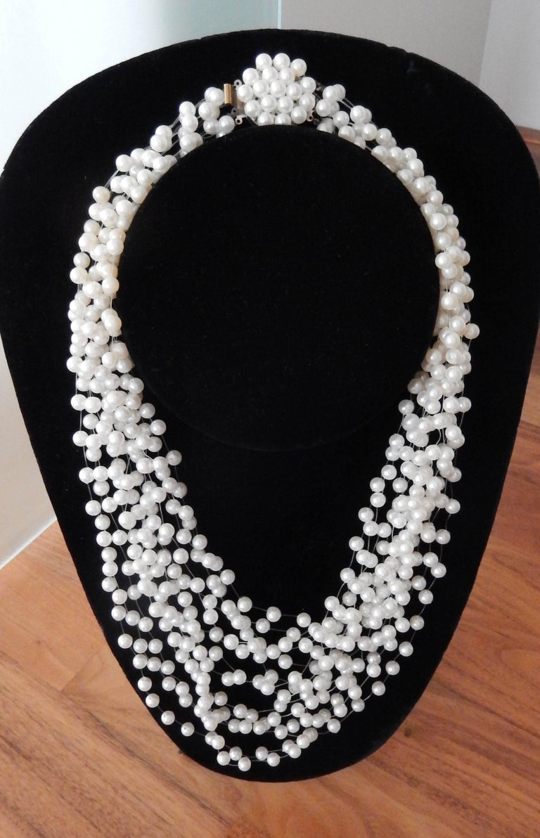 1970s Langani Multi Strand Pearl Necklace 3