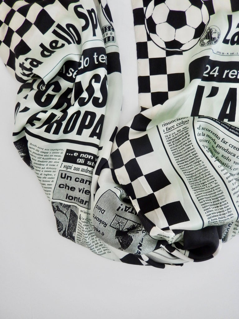Moschino Silk Newsprint Scarf, 1990s  In Good Condition For Sale In Winnetka, IL
