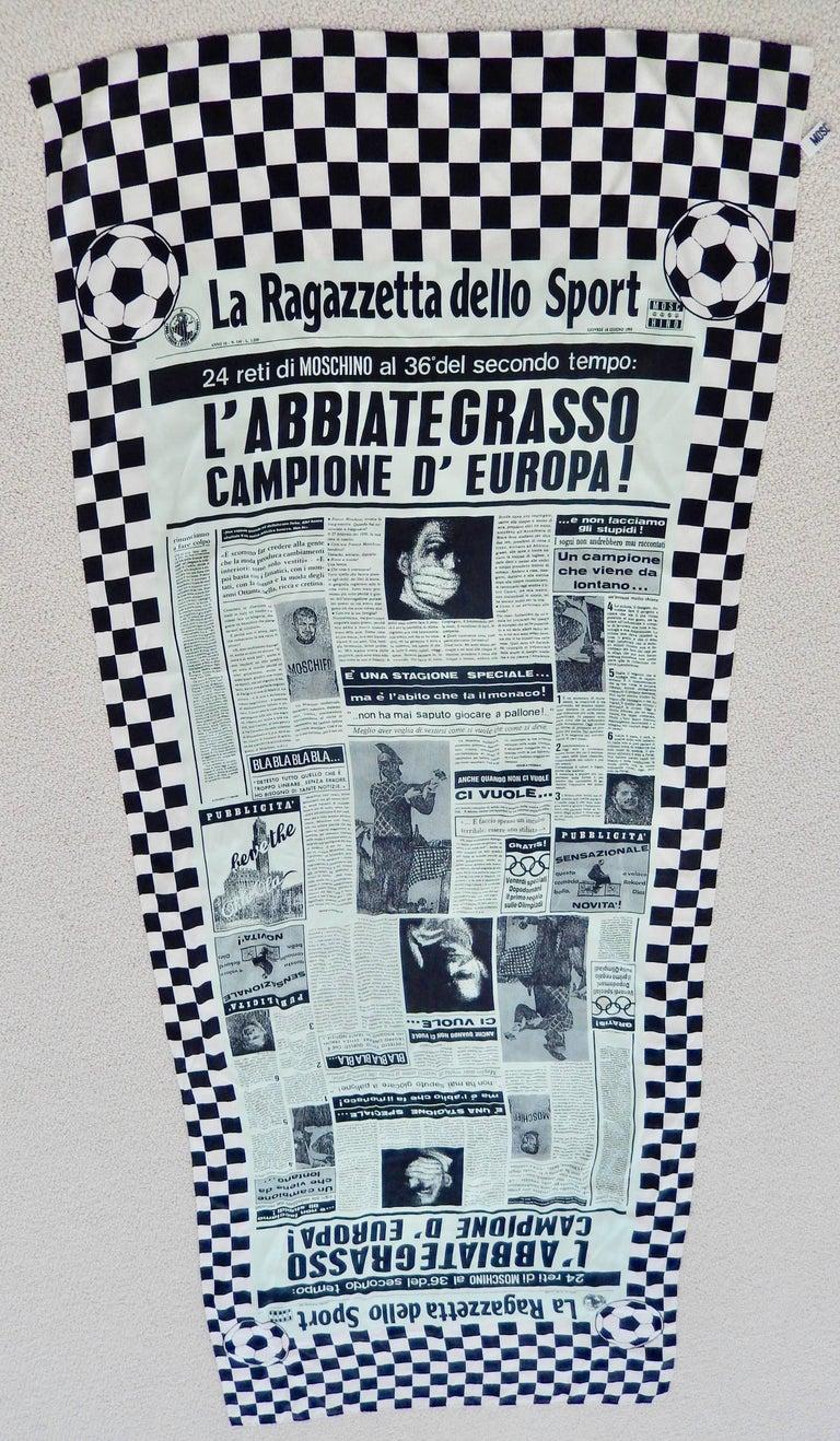 Women's or Men's Moschino Silk Newsprint Scarf, 1990s  For Sale