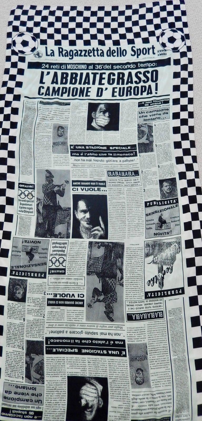 Moschino Silk Newsprint Scarf, 1990s  For Sale 1