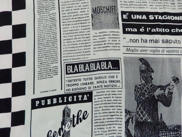 Moschino Silk Newsprint Scarf, 1990s  For Sale 3
