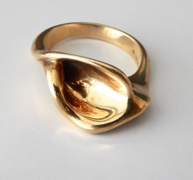 For Tiffany And Co 18K Gold Calla Lily Ring For Sale At 1stdibs