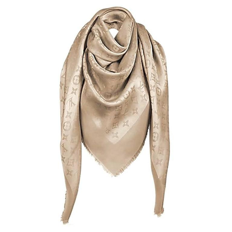 Louis Vuitton Monogram Shine Gold Scarf New  1