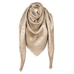 Louis Vuitton Monogram Shine Gold Scarf New