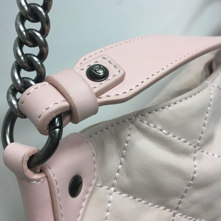 CHANEL Light Pink Quilted Calfskin Leather Coco Daily Hobo Bag 13C In New Condition For Sale In Westlake Village, CA
