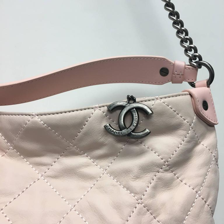 d8ef4f44a058db CHANEL Light Pink Quilted Calfskin Leather Coco Daily Hobo Bag 13C For Sale  at 1stdibs
