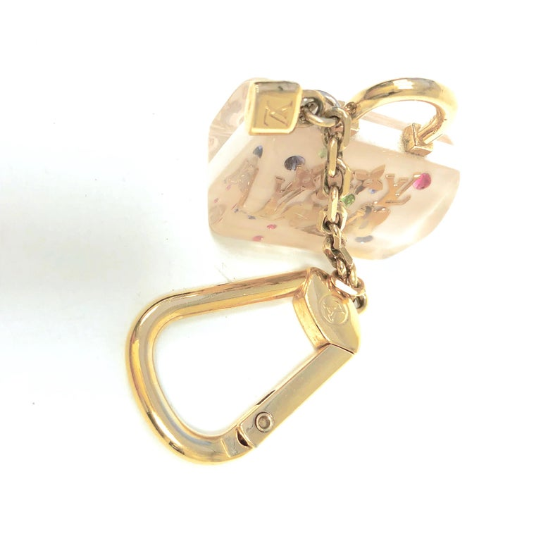 LOUIS VUITTON White Inclusion Speedy Key Holder and Bag Charm For Sale 1