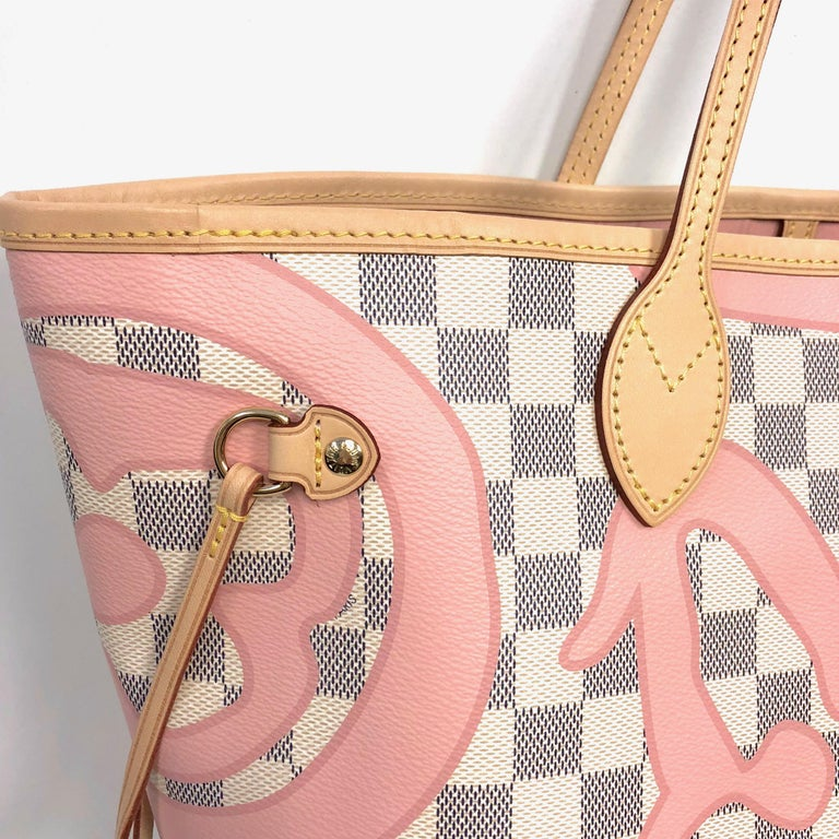 217765a5f308 Louis Vuitton Damier Azur. Beige Louis Vuitton Limited Edition Neverfull MM  Tahitienne Tahiti Rose Canvas ...