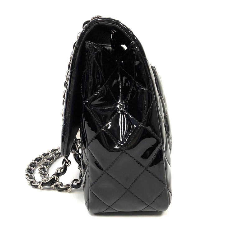 Women's or Men's Chanel Classic Quilted Jumbo Single Flap Black Patent Bag  For Sale