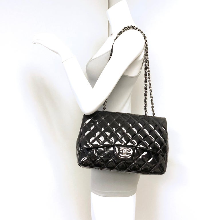 Chanel Classic Quilted Jumbo Single Flap Black Patent Bag  For Sale 9